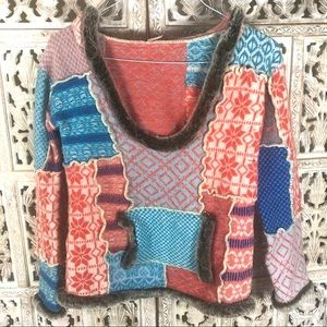 Free People faux fur patchwork hoodie sweater XS